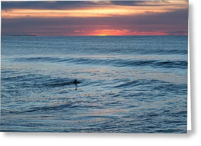 Ocean Sunrise Paddle Out At First Light Greeting Card