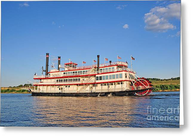 Paddle Wheel Boat Greeting Card by Anne Kitzman