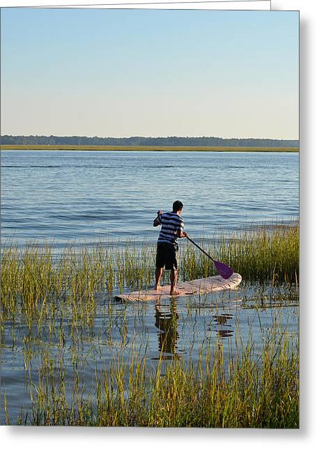 Paddleboarder Greeting Card by Margaret Palmer