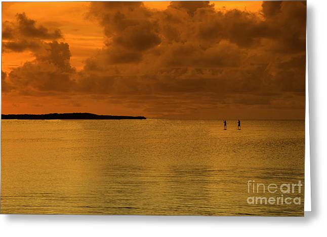 Paddleboarding Greeting Card by Bruce Bain