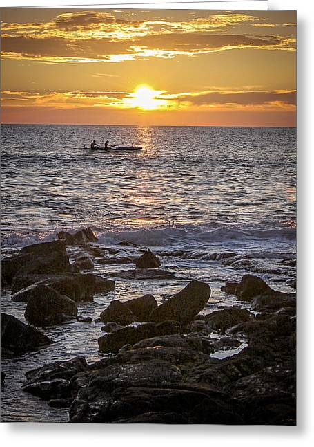 Paddlers At Sunset Portrait Greeting Card