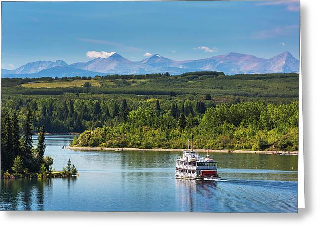 Paddlewheel Boat On Lake With Tree Greeting Card by Michael Interisano