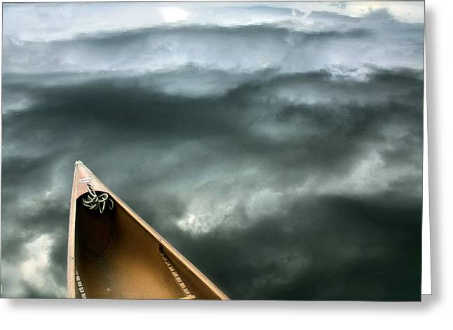 Paddling Before The Storm Greeting Card