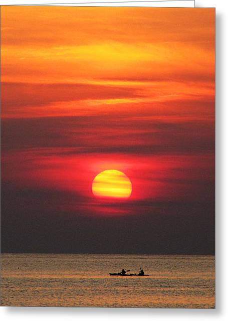 Paddling Under The Sun Greeting Card by Richard Reeve