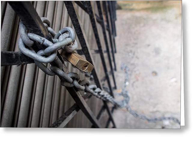 Padlock And Chain Greeting Card by Kaleidoscopik Photography