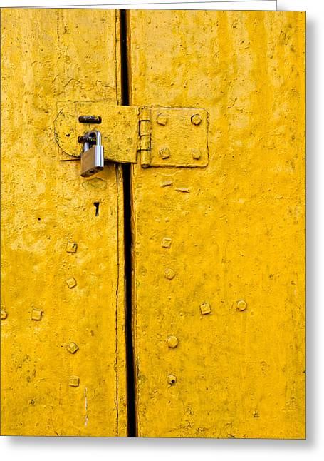Padlock On An Old Yellow Door Greeting Card