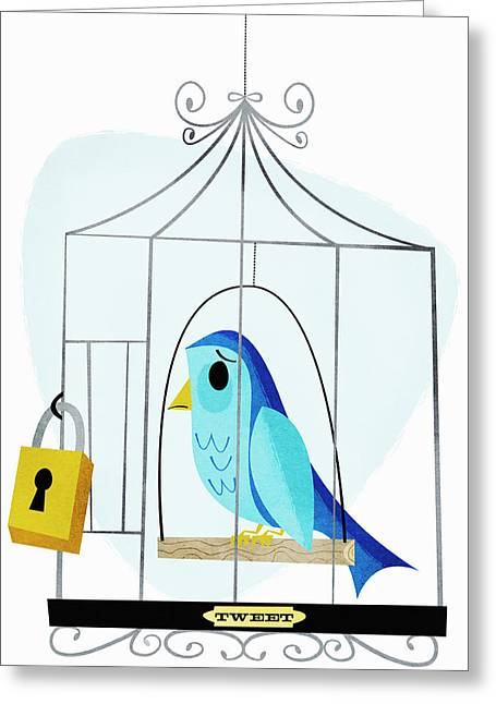 Padlock On Birdcage With Label Tweet Greeting Card