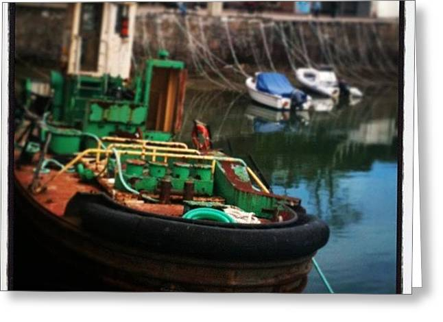 #padstow #boat #oldthings #quirky Greeting Card by Bee Adams