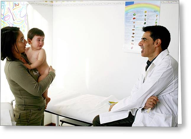 Paediatric Consultation Greeting Card by Mauro Fermariello/science Photo Library
