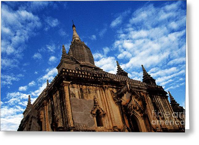 Pagan Burma Temple Greeting Card by Scott Shaw
