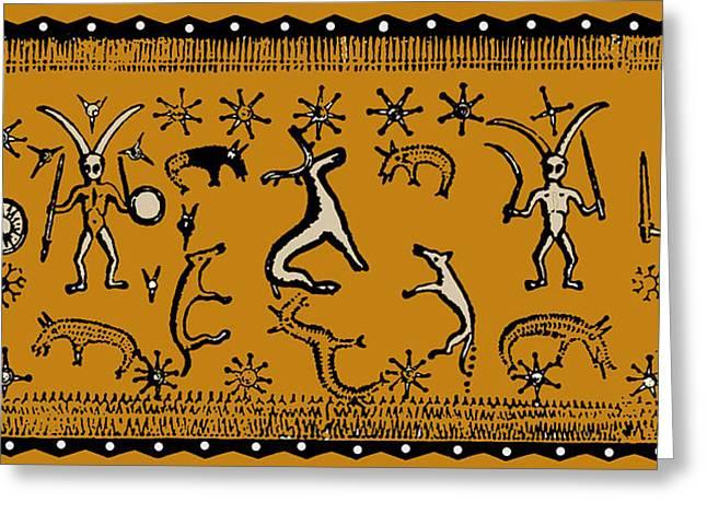 Greeting Card featuring the digital art Pagan Rituals by Vagabond Folk Art - Virginia Vivier