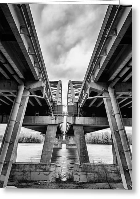 Page Bridge Geometry Greeting Card by Bill Tiepelman
