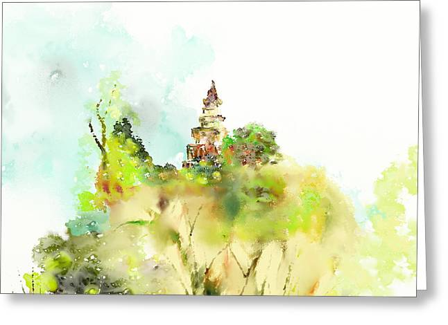 Pagoda Greeting Card by Len YewHeng