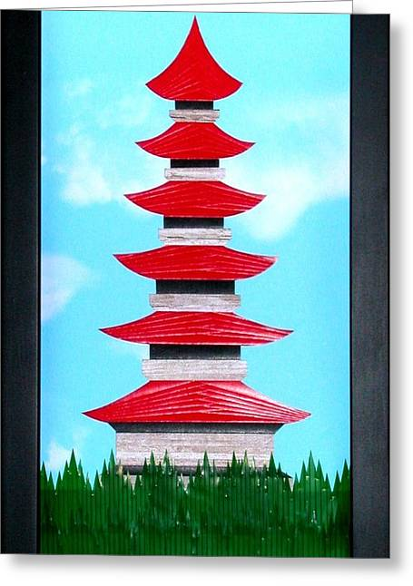 Greeting Card featuring the mixed media Pagoda by Ron Davidson