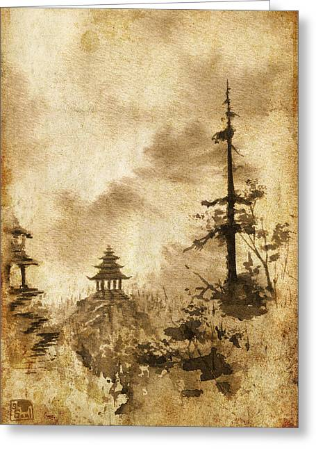Greeting Card featuring the painting Pagoda Valley Altered by Sean Seal