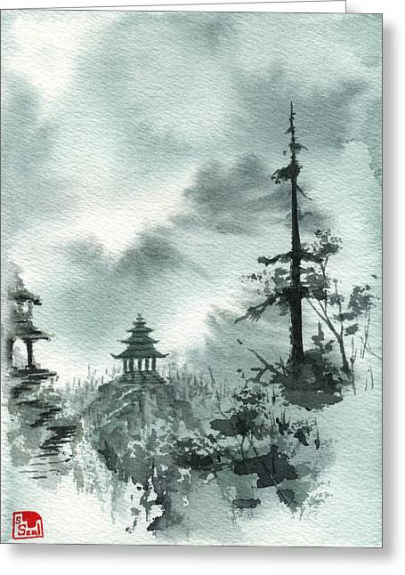 Pagoda Valley Greeting Card by Sean Seal