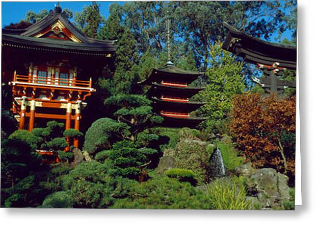 Pagodas In A Park, Japanese Tea Garden Greeting Card by Panoramic Images