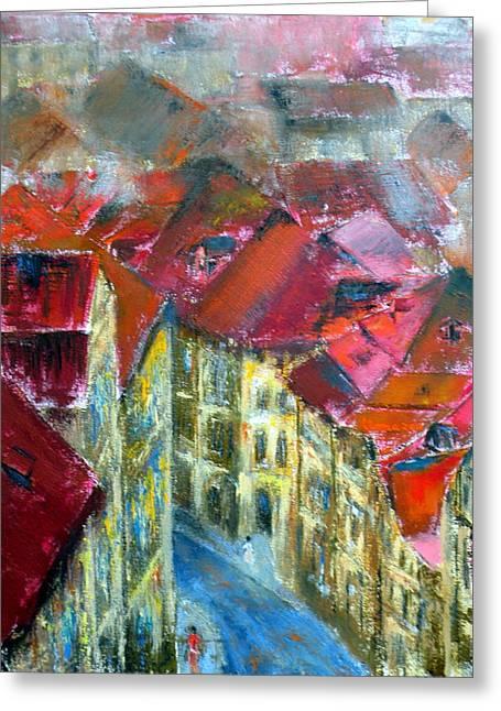 Prague Greeting Card by Uma Krishnamoorthy