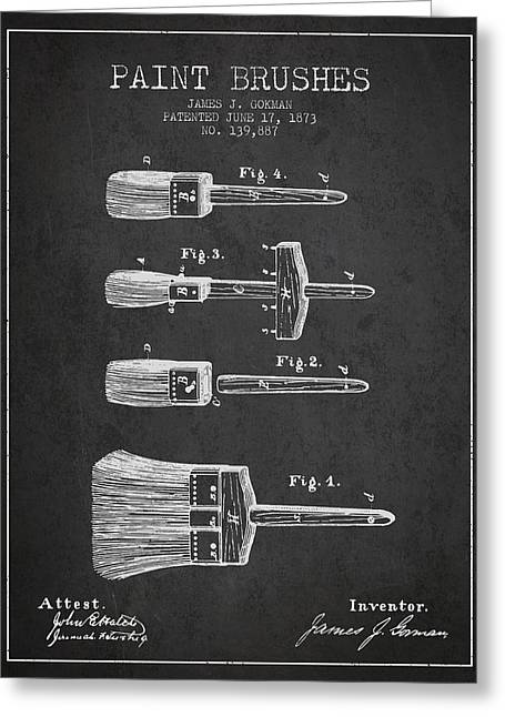 Paint Brushes Patent From 1873 - Charcoal Greeting Card by Aged Pixel