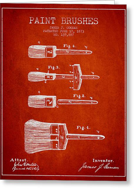 Paint Brushes Patent From 1873 - Red Greeting Card by Aged Pixel