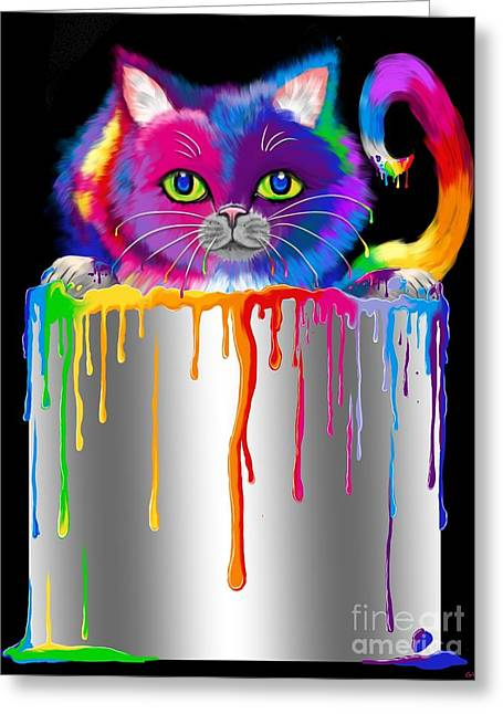 Paint Can Cat Greeting Card by Nick Gustafson