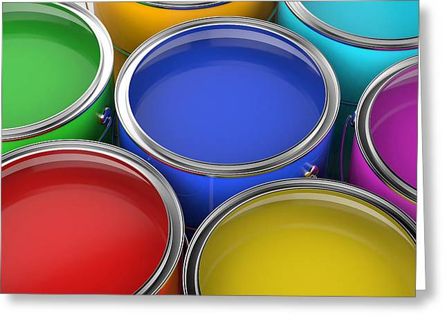 Paint Cans Open Greeting Card