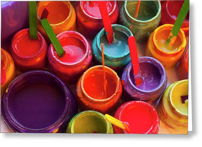 Paint Jars Greeting Card by Alixandra Mullins