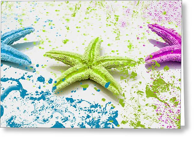 Paint Spattered Star Fish Greeting Card