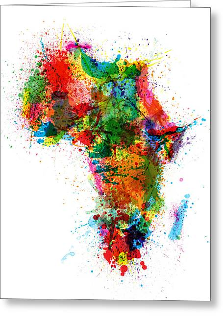 Paint Splashes Map Of Africa Map Greeting Card