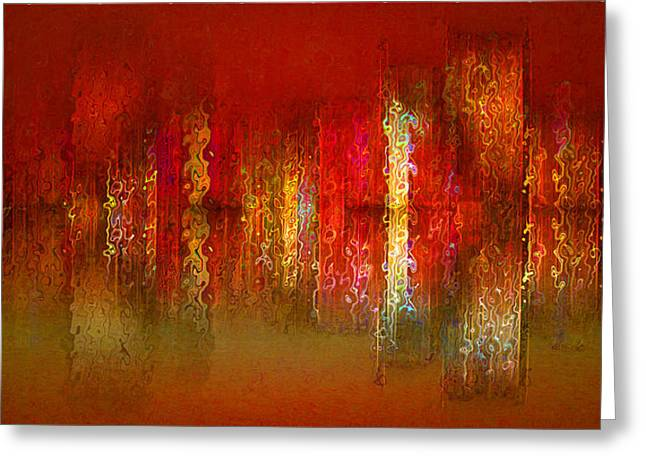 Paint The Town Red Greeting Card by Stuart Turnbull