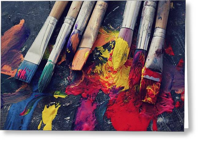 Paintbrushes  Greeting Card by Bella  Harris