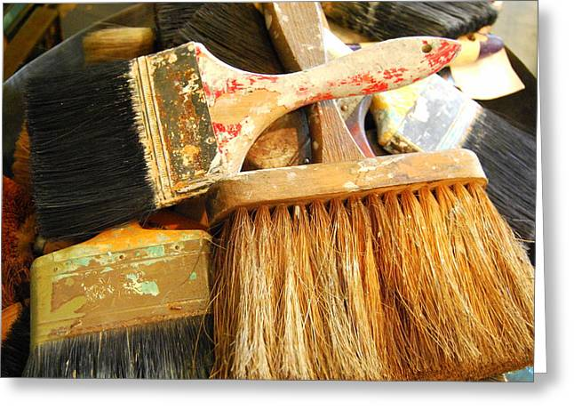 Paintbrushes Greeting Card by Mamie Gunning