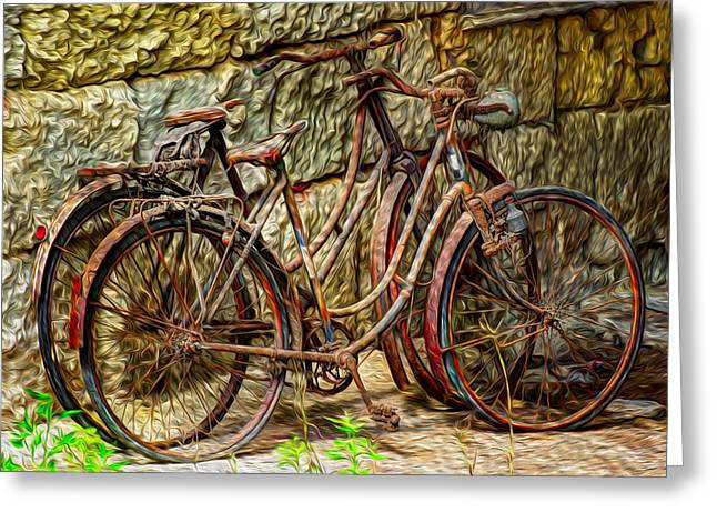 Painted Bikes Greeting Card by Debra and Dave Vanderlaan