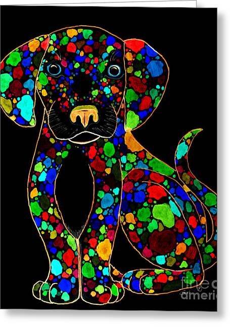 Painted Black Dog Greeting Card