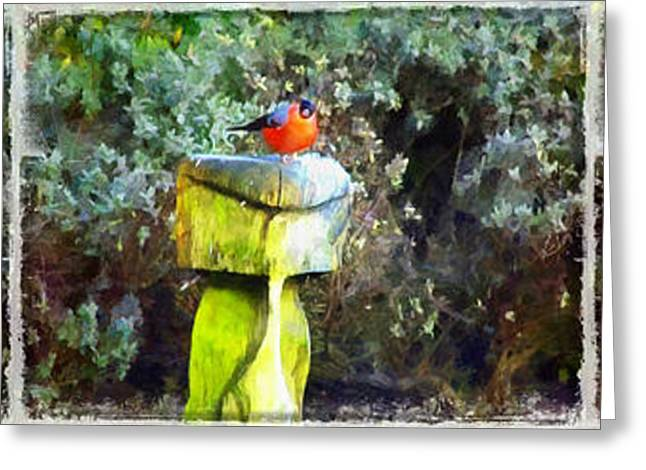Painted Bullfinch Trio Greeting Card