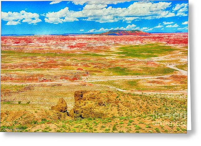 Painted Desert National Park Panorama  Greeting Card by Bob and Nadine Johnston