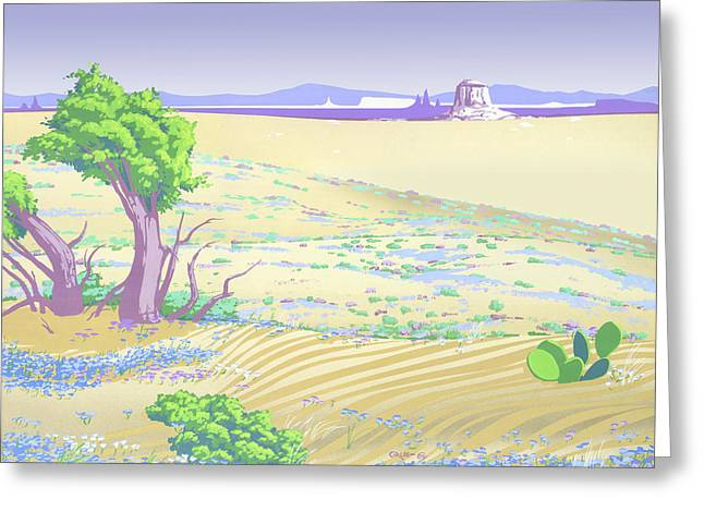 Painted Desert Abstract Landscape - 1980s Pop Art Nouveau Retro Stylized Greeting Card by Walt Curlee