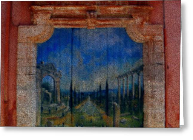 Painted Door In Roussillon Canvas Greeting Card
