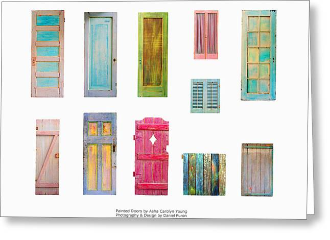Painted Doors And Window Panes Greeting Card by Asha Carolyn Young and Daniel Furon