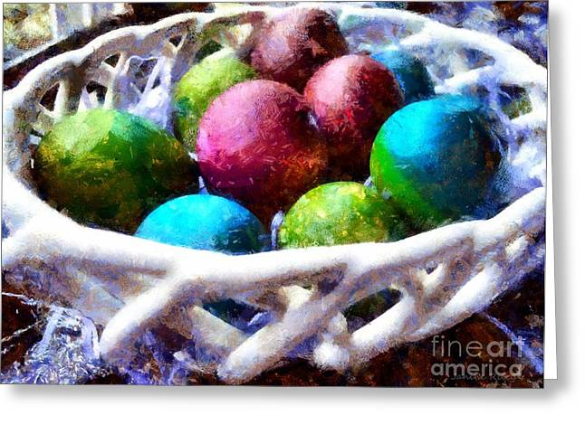 Painted Easter Eggs In A Basket Greeting Card by Janine Riley
