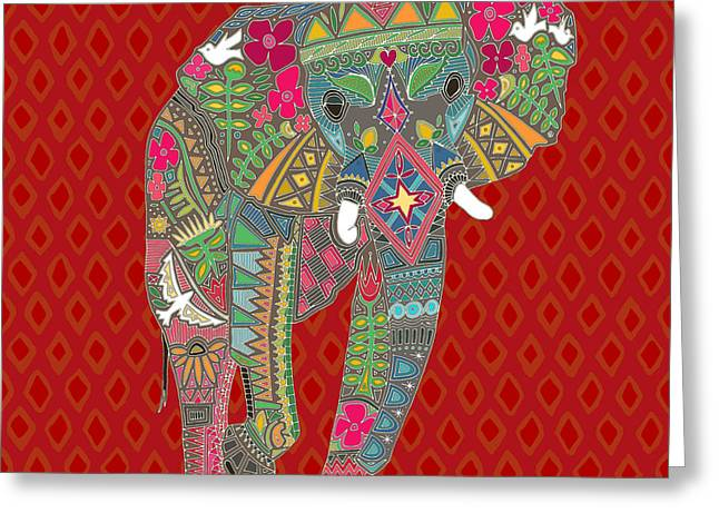 Painted Elephant Diamond Greeting Card