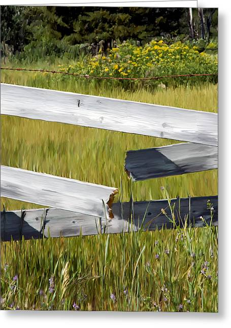 Painted Fence Greeting Card by Michele Wright