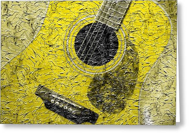 Painted Guitar - Music - Yellow Greeting Card by Barbara Griffin
