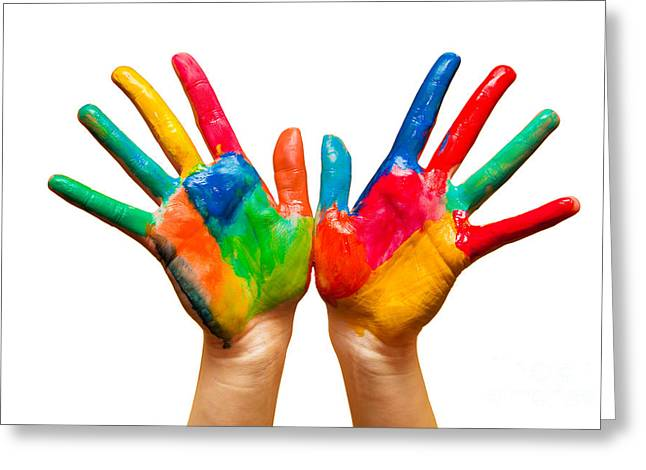Painted Hands On White Greeting Card by Michal Bednarek