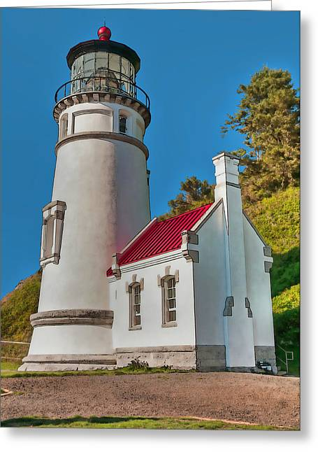 Painted Heceta Head Lighthouse Greeting Card