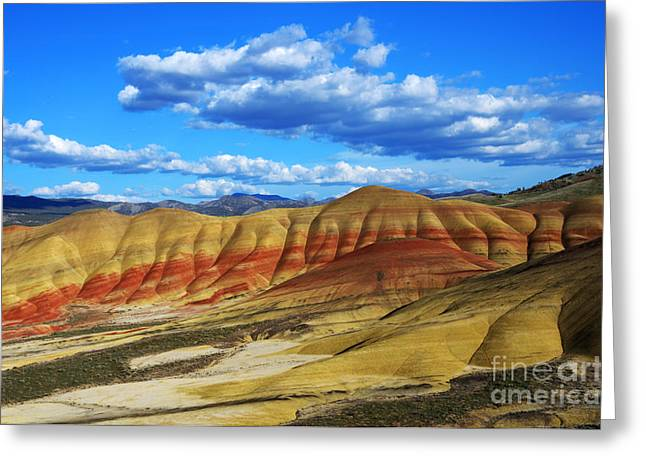 Painted Hills Blue Sky 3 Greeting Card by Bob Christopher