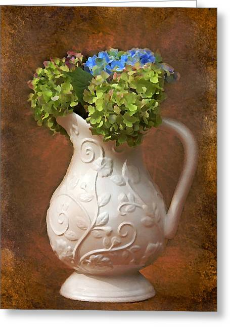 Painted Hydrangeas Greeting Card by Trina  Ansel