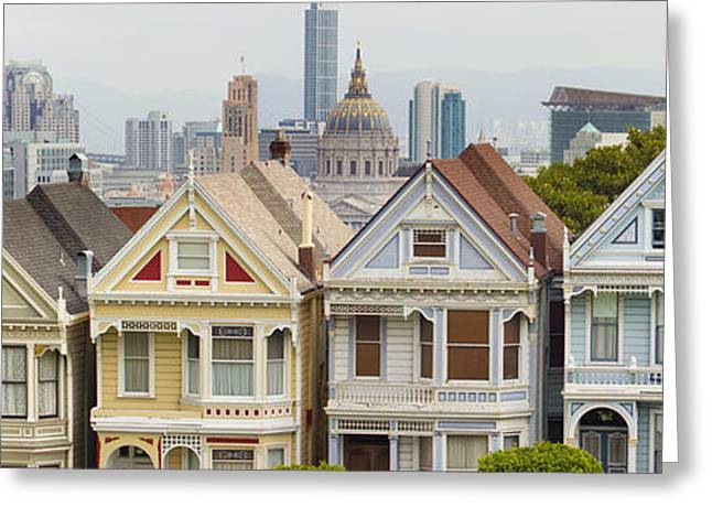 Painted Ladies Row Houses By Alamo Square Greeting Card