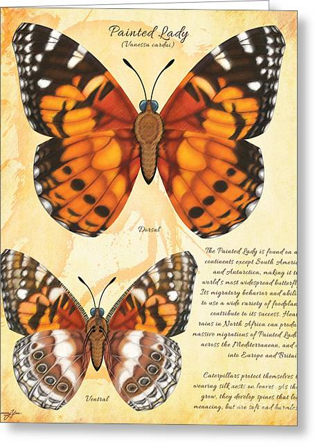 Painted Lady Butterfly Greeting Card by Tammy Yee