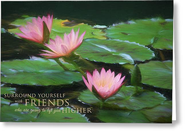 Painted Lilies With Message Greeting Card